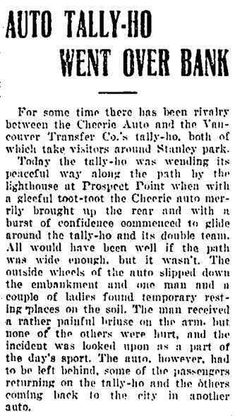 Vancouver Daily World, July 30, 1908, page 1, column 3.
