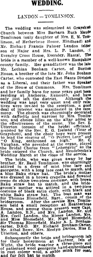 Exeter and Plymouth Gazette (Exeter, England), April 18, 1929, page 4, column 6.