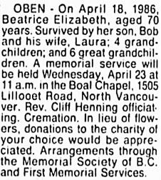 Vancouver Sun, April 21, 1986, page 11, column 7.