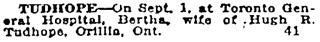 Toronto Globe, September 2, 1920, page 9, column 2.