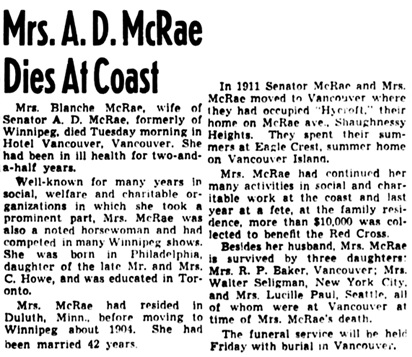The Winnipeg Tribune, November 11, 1942, page 7, column 3.