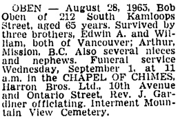 Vancouver Sun, August 31, 1965, page 28, column 3.