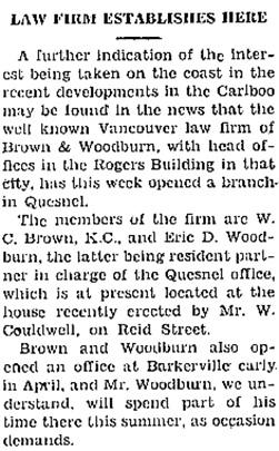 Cariboo Observer, June 3, 1933, page 1, column 4; http://www.quesnelmuseum.ca/COA/1933/19330603_Cariboo%20Observer.pdf.