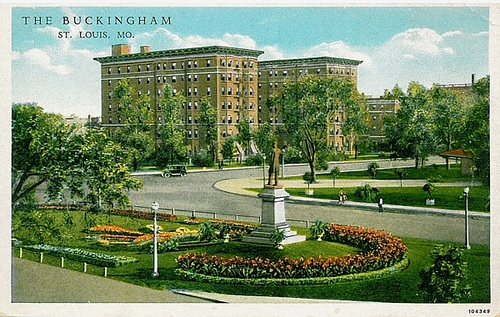 Buckingham Hotel, St. Louis, Missouri, postcard; Revisiting the 36 Year Old Parking Lot; http://vanishingstl.blogspot.com/2009/08/revisiting-36-year-old-parking-lot.html.