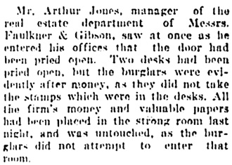"""Burglars Loot Big Downtown Block,"" Vancouver Daily World, February 21, 1907, page 1, column 5."