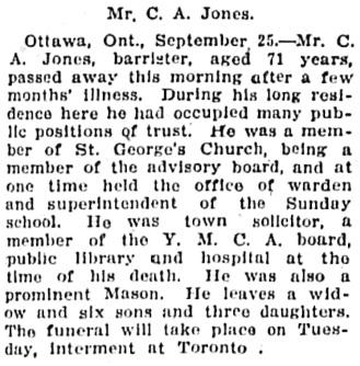 The Gazette (Montreal), September 26, 1910, page 4, column 2.