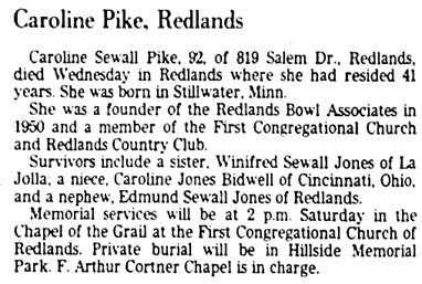 The San Bernardino County Sun (San Bernardino, California), February 27, 1976, page 28, columns 1-2.