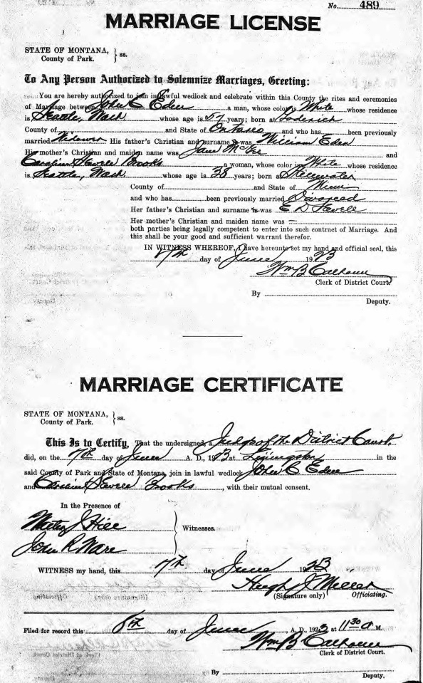 Ancestry.com. Montana, County Marriages, 1865-1987 [database on-line]. Lehi, UT. USA: Ancestry.com Operations, Inc., 2017. Name: Caroline Sewell Brooks [Caroline Sewell Sewell]; Gender: Female; Race: White; Age: 38; Birth Date: abt 1885; Birth Place: Stillwater, Minn; Marriage Date: 7 Jun 1923; Marriage Place: Livingston, Park, Montana, USA; Father: E. D. Sewell; Spouse: John C. Eden; Certificate Number: 489.