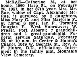 Vancouver Province, February 21, 1957, page 38; Vancouver Sun, February 21, 1957, page 28, column 4; https://news.google.com/newspapers?id=BD5lAAAAIBAJ&sjid=y4kNAAAAIBAJ&pg=1319%2C3808305.