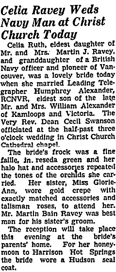 Vancouver Sun, January 3, 1942, page 11, column 6; https://news.google.com/newspapers?id=qDRlAAAAIBAJ&sjid=R4kNAAAAIBAJ&pg=3196%2C176275.