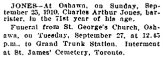 Toronto Globe, September 27, 1910, page 8, column 7.