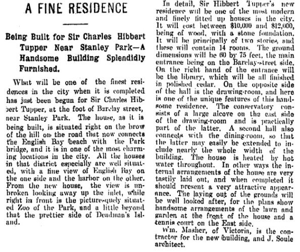 Vancouver Daily World, March 22, 1899, page 3, column 4.