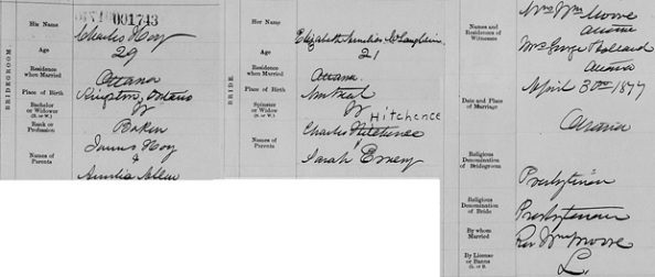 """Ontario Marriages, 1869-1927,"" database with images, FamilySearch (https://familysearch.org/ark:/61903/1:1:FMNN-G48 : 11 March 2018), Charles Hoy and Elizabeth Amelia Mclaughlin, 30 Apr 1877; citing registration , Ottawa, Ottawa, Ontario, Canada, Archives of Ontario, Toronto; FHL microfilm 1,863,648."