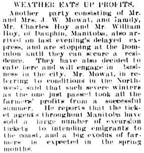 The Winnipeg Tribune, March 15, 1904, page 10, column 3.