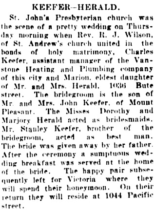Vancouver Daily World, June 21, 1907, page 8, column 5.