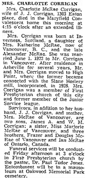 The High Point Enterprise (High Point, North Carolina), November 1, 1950, page 8, column 4.