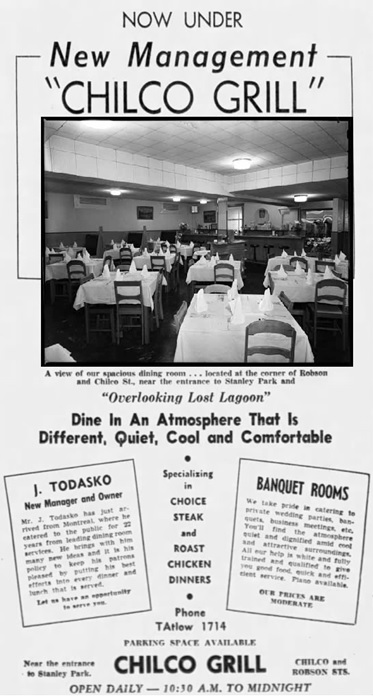 Vancouver Sun, July 24, 1948, page 3, columns 6-8 [edited image: includes photograph by Tom Christopherson: Interior of the Chilco Grill, 1948, Vancouver Public Library, VPL Accession Number: 80607A; https://www3.vpl.ca/spePhotos/LeonardFrankCollection/02DisplayJPGs/1923/80607A.jpg].