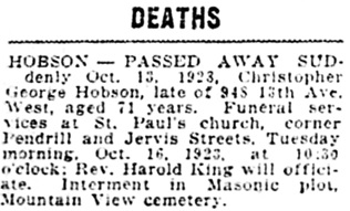 Vancouver Daily World, October 15, 1923, page 10, column 1.