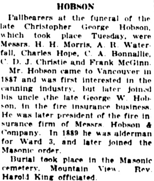 Vancouver Daily World, October 17, 1923, page 9, column 7.