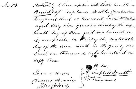 """Ancestry.com. Quebec, Canada, Vital and Church Records (Drouin Collection), 1621-1968 [database on-line]. Provo, UT, USA: Ancestry.com Operations, Inc., 2008. Institut Généalogique Drouin; Montreal, Quebec, Canada; Drouin Collection; Author: Gabriel Drouin, comp. """"No. 53. Hobson, buried: Christopher Hobson, Gentleman of Cross House Bootle Cumberland England died at Arnwood Eastern township aged sixty nine years on Tuesday the sixteenth day of June and was buried in Lennoxville on Friday the nineteenth day of the same month in the year of our Lord one thousand eight hundred and sixty three."""""""