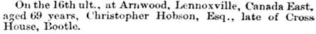 Westmorland Gazette (Kendal, England), July 11, 1863, page 5, column 6.