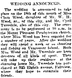 Vancouver Daily World, September 8, 1906, page 5, column 5.