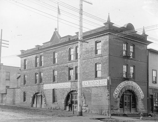 Clarence Hotel building at Seymour and Pender Streets, early 1900s, Vancouver City Archives, LGN 708; http://searcharchives.vancouver.ca/clarence-hotel-building-at-seymour-and-pender-streets.