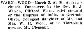 Vancouver Daily World, March 5, 1906, page 9, column 4.
