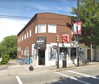 Commercial Drive and Fourth Avenue, north-west corner; Google Streets, searched October 14, 2018; image dated July 2018.
