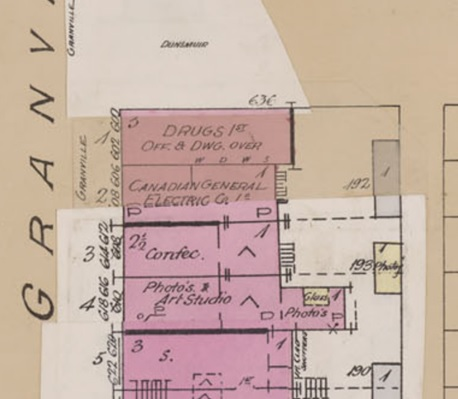 Insurance plan of the city of Vancouver, British Columbia, July 1897, revised June 1901; sheet number 16 (detail); http://data2.archives.ca/e/e427/e010674718-v8.jpg.