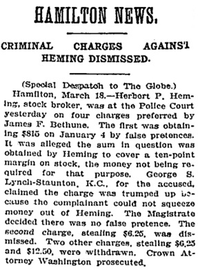 Toronto Globe, March 19, 1906, page 3, column 5 [selected portions].