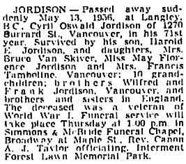 Vancouver Sun, May 15, 1956, page 28, column 3; https://news.google.com/newspapers?id=Oz5lAAAAIBAJ&sjid=0YkNAAAAIBAJ&pg=975%2C3085286.