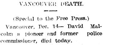 Nanaimo Daily News, December 14, 1907, page 1, column 4.