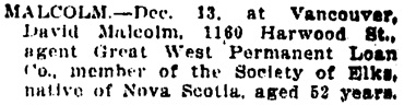 Vancouver Daily World, December 20, 1907, page 5, column 6.