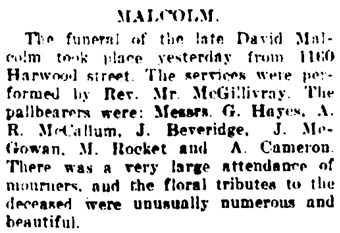 Vancouver Daily World, December 17, 1907, page 10, column 4.