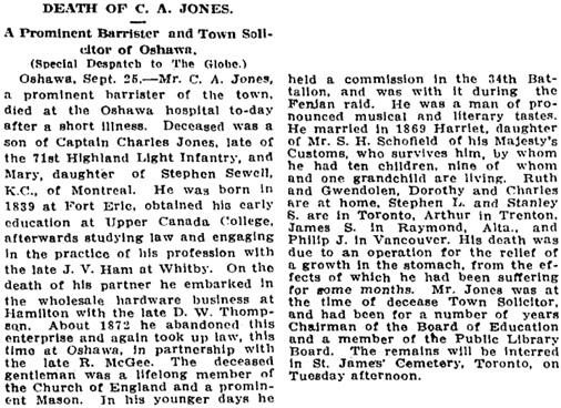 Toronto Globe, September 26, 1910, page 2, column 3.
