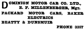 """Henderson's City of Vancouver and North Vancouver Directory, 1910, Part 1, page 681. [The manager's surname was actually """"Miltenberger.""""]"""