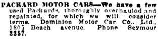 Vancouver Daily World, June 20, 1913, page 23, column 3.