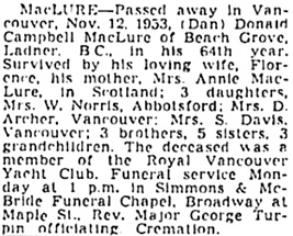 """Donald (""""Dan"""") Campbell Maclure, death notice, Vancouver Sun, November 13, 1953, page 40."""