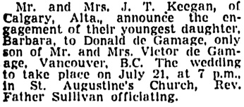 The Vancouver Sun, July 19, 1945, page 15, column 1.