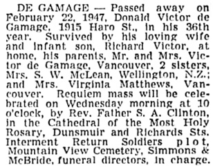 Vancouver Sun, February 24, 1947, page 13, column 2.
