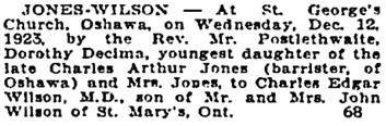 Toronto Globe, December 14, 1923, page 12, column 1.