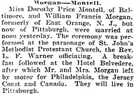 The Baltimore Sun, September 12, 1922, page 4, column 2.