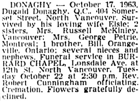 The Vancouver Sun, October 21, 1963, page 33, column 2.The Vancouver Sun, October 21, 1963, page 33, column 2.