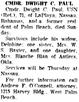 The Palm Beach Post (West Palm Beach, Florida), February 7, 1968, page 27, column 3.