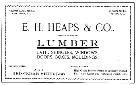 E.H. Heaps & Co., advertisement; Souvenir of the Vancouver Fire Department, 1905, Firemen's Benefit Association (Vancouver, B.C.), page 4; https://open.library.ubc.ca/collections/bcbooks/items/1.0222019#p7z-4r0f: