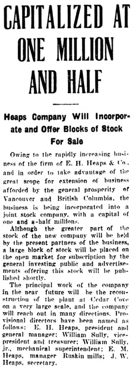 Vancouver Daily World, May 23, 1907, page 1, column 2.