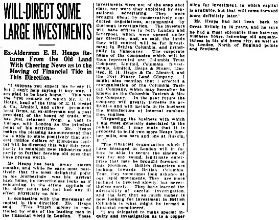 Vancouver Daily World, July 8, 1911, page 7, columns 1-3.