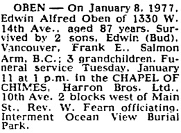 The Vancouver Sun, January 10, 1977, page 32, column 4.