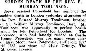 Evening Telegraph (Dundee, Scotland) November 27, 1908, page 4, column 6.